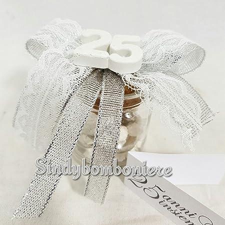 Bomboniere Per 25 Matrimonio.3 Vasetti Portaconfetti Bomboniere Anniversario Di Matrimonio 25