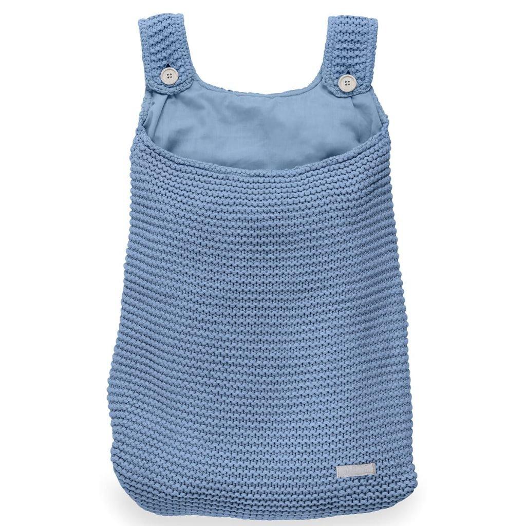Jollein Bettdeckenbezug und Kissenbezug, Aufbewahrungstasche Heavy Strick Blau 010-871-65087