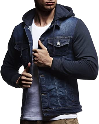 Leif Nelson LN5240 Mens Denim Jacket with Knitted Sleeves