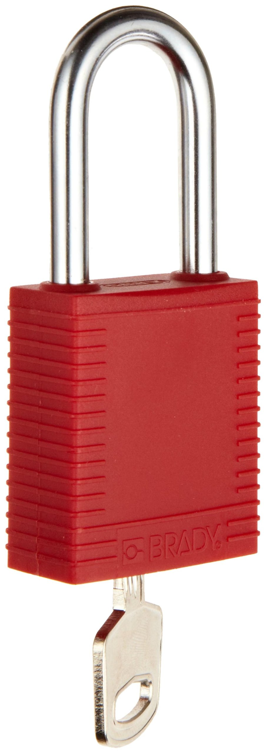 Brady Plastic Lockout/Tagout Padlock, Keyed Different, 1-3/4'' Body Length, 1-1/2'' Shackle Clearance, Red (Pack of 6)