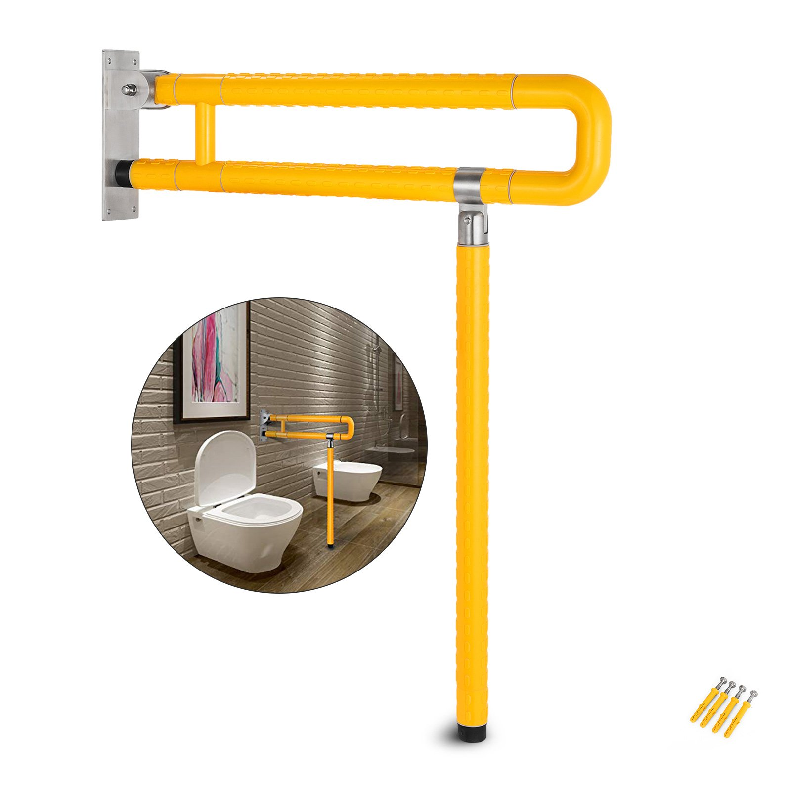 VEVOR Foldable Toilet Grab Bar Safety Frame Rails Flip-up Skid Resistance Handicap Bathroom Seat Support Bar Toilet Hand Grips for Home Hotel Disabled Aid Pregnant Elderly R-Shape Rail (Yellow R)