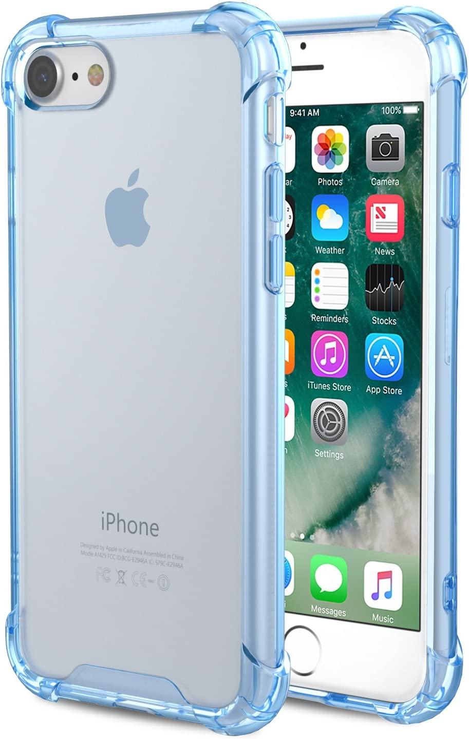 MoKo Funda Compatible con Nuevo iPhone SE 2020 Funda/iPhone 8 Funda/iPhone 7 Funda, Anti-Arañazos Híbrido Funda Tecnología Esquinas + Panel Duro para iPhone SE / 8/7, Azul Transparente