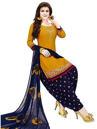 59b0a1155a Jevi Prints Women's Dress Material (Varsha-2585_Mustard & Blue_Free ...