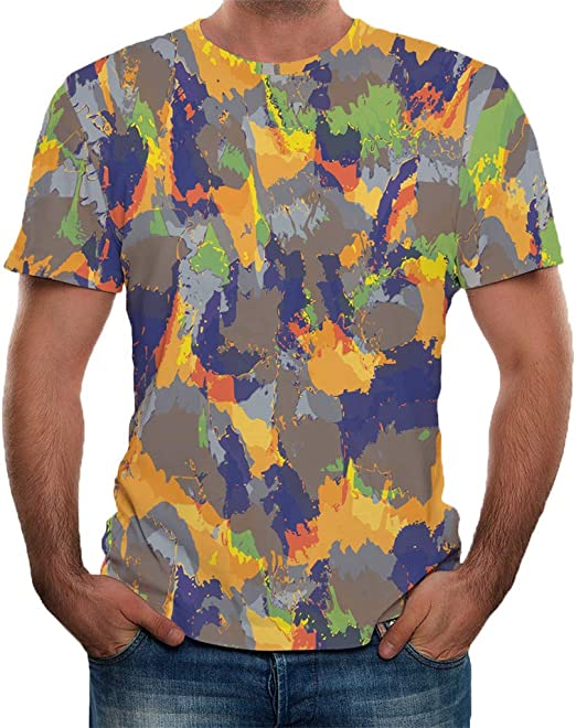Shirt for Men F/_Gotal Mens T-Shirts Summer Short Sleeve Fashion Printing Casual Loose Fit Sport Tees Blouse Tops