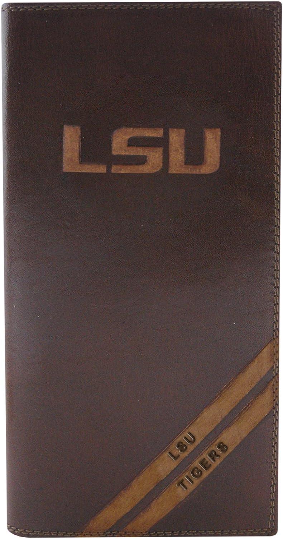 Brown NCAA LSU Tigers Zep-Pro Pull-Up Leather Long Secretary Embossed Wallet