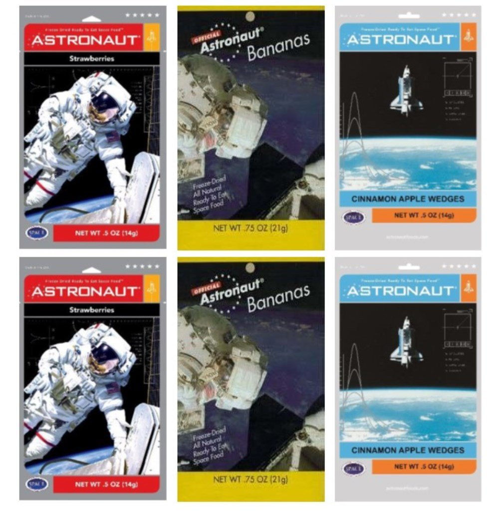 Astronaut Foods Freeze-Dried Space Food Fruit 3 Flavor 6 Pouch Variety Bundle, (2) Each: Strawberries, Bananas, and Cinnamon Apples, .5-.75 Oz Ea