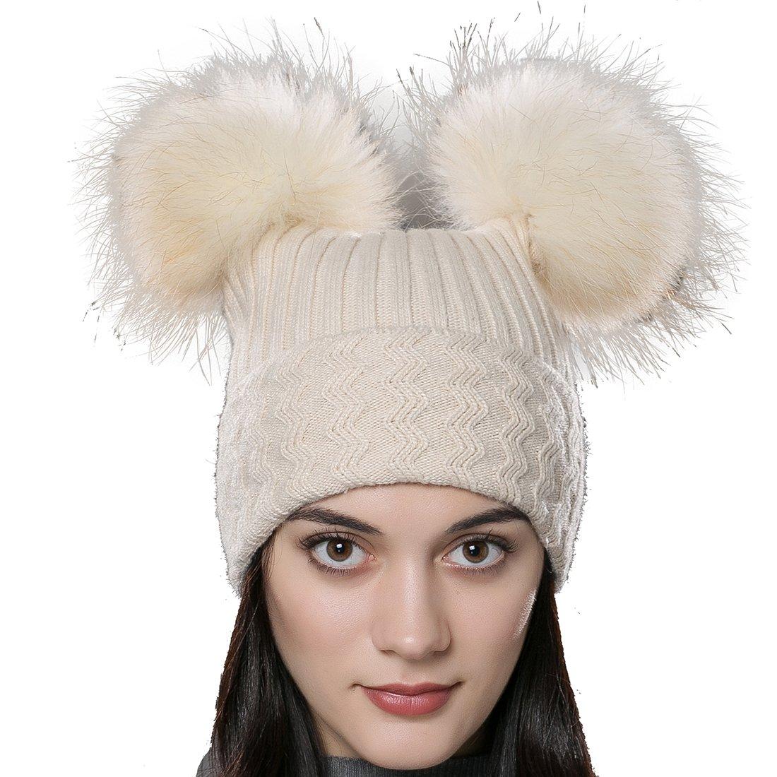 URSFUR Unisex Autumn Knit Wool Beanie Hat Women Winter Hat with Fur Ball  Pom Pom at Amazon Women s Clothing store  2cf95826825