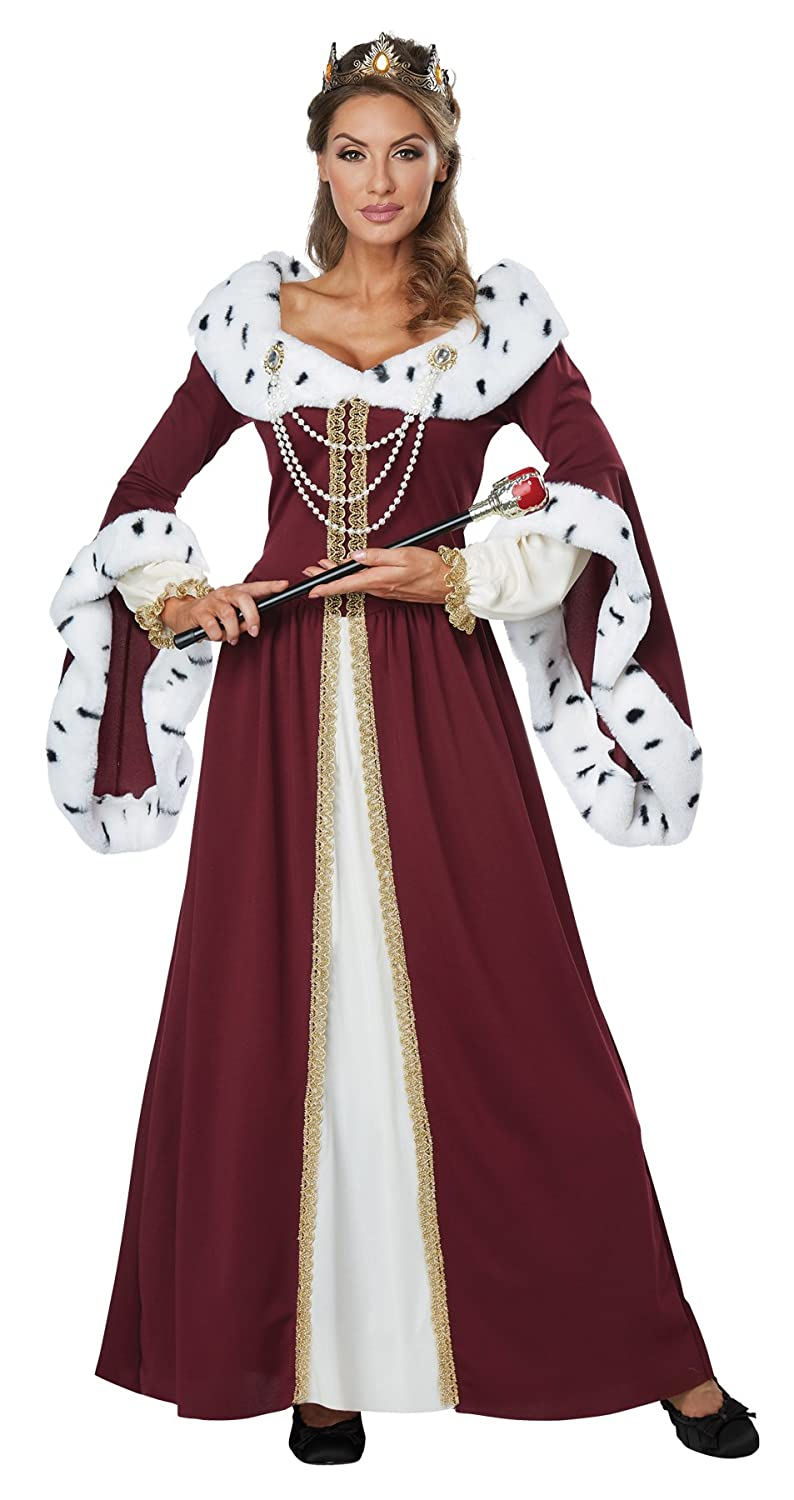 f47ab4ae2e5 Amazon.com  Women s Royal Storybook Queen Outfit Adult Fancy Dress  Halloween Costume  Clothing