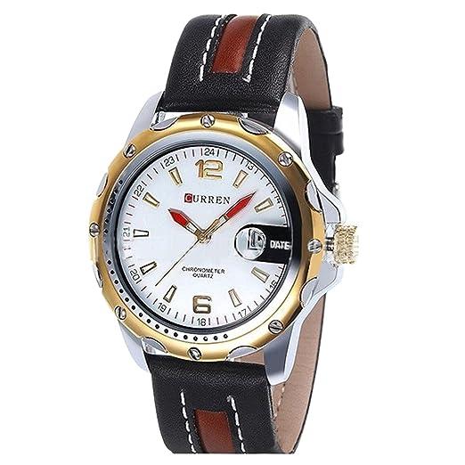 reloj de metal dorado del cuarzo del caso imperiales de los hombres blancos del dial analógico clásico reloj de los hombres a prueba de agua: Amazon.es: ...