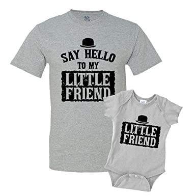 b03ae11970f04 Say Hello to My Little Friend Shirts Matching Father Son Shirts Bodysuit  Clothing Athletic Heather