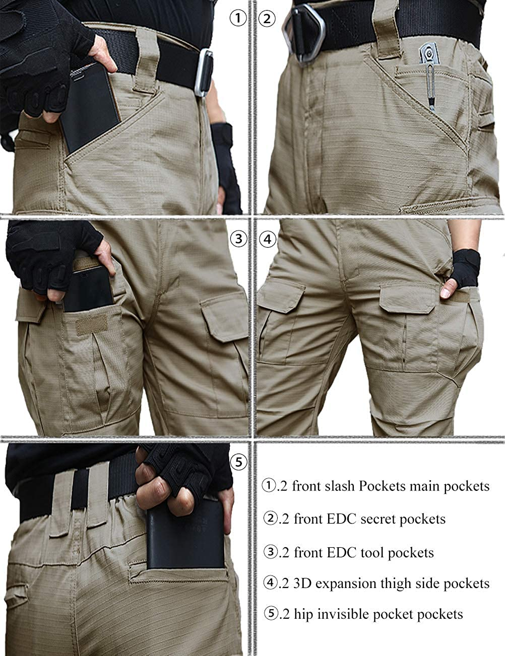 Mens Water Resistant Pants Straight Fit Tactical Combat Army Cargo Work Pants with Multi Pocket