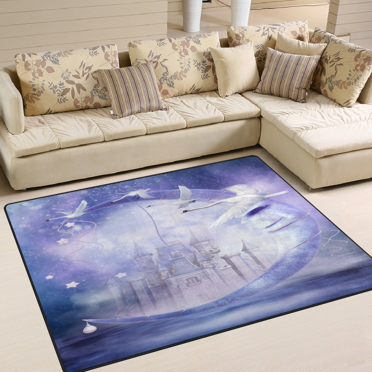 Amazon.com: ALAZA Fairytale Moon with Castle and White Swan ...