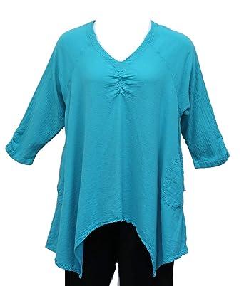 Tamar Fashions Women's Athena Aqua Cotton Gauze Artsy Tunic Top (One