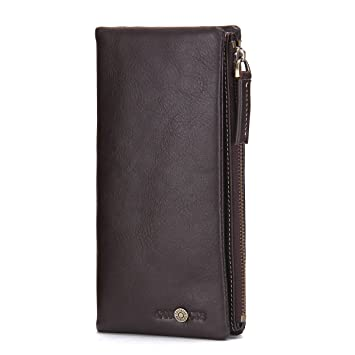 Contacts Mens Genuine Leather Phone Zipper Pocket Long Wallet Clutch Coin Purse