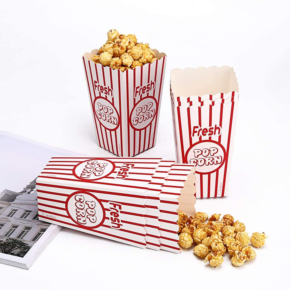 24 Movie Party Popcorn Boxes Food Grade - Striped Red and White - Supplies for Movie Night, Theaters, Festivals, Carnival Party Theme