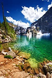 Summer Clouds Over Goat Lake Sawtooth Mountains Photo Photograph Cool Wall Decor Art Print Poster 24x36