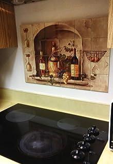 hangable tile mural kitchen backsplash tile art kitchen decor kitchen tile backsplash - Ceramic Tile Backsplash