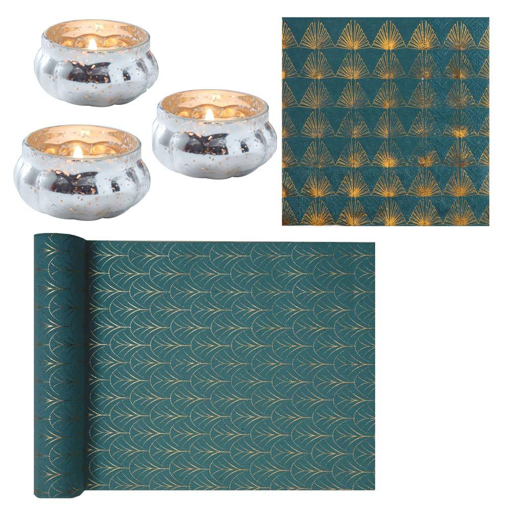 Servietten Art Deco In Petrol Blau Gold Muster Tisch