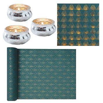 Servietten Art Deco In Petrol Blau Gold Muster Tisch Dekoration