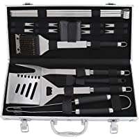 POLIGO 19PCS BBQ Grill Tools Set Stainless Steel Barbecue Grilling Accessories Set with Aluminum Case for Camping - Premium Outdoor Grill Utensil Ideal Gifts Set on Birthday Father's Day for Dad Men