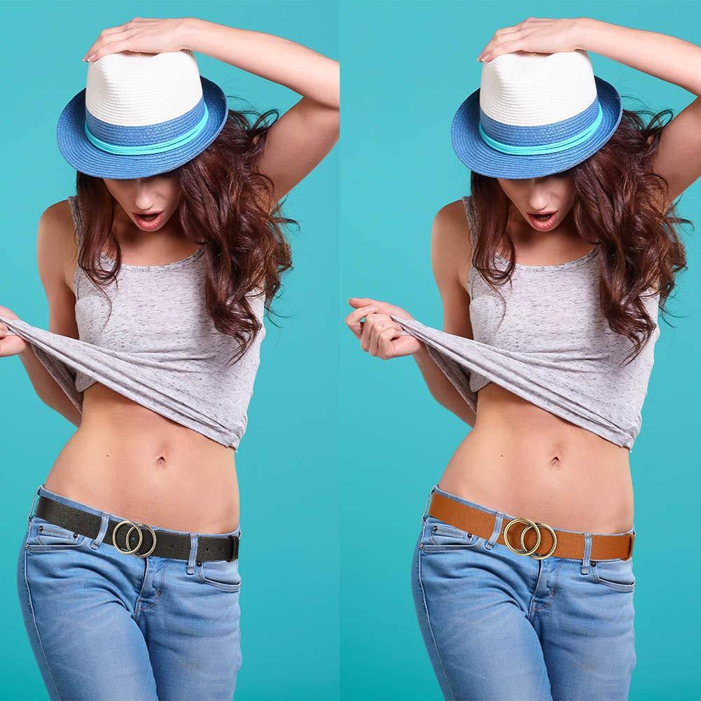 Bolonbi 3 Pezzi Moda Donne Cintura in Pelle Larghezza 1.10/′Cintura in Ecopelle con Doppio Anello Fibbia Oro per Jeans Vestiti Pantaloni Jeans