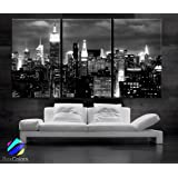 """Large 30""""x 60"""" 3 Panels 30""""x20"""" Ea Art Canvas Print Beautiful New York City Skyline Black & White Wall Home (Included Framed 1.5"""" Depth)"""