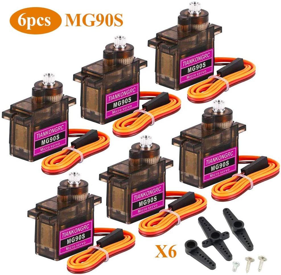 Innovateking-EU 6Pcs MG90S Metal Gear Micro Servo Motor 9G para Smart Robot Car Helicopter Plane Boat