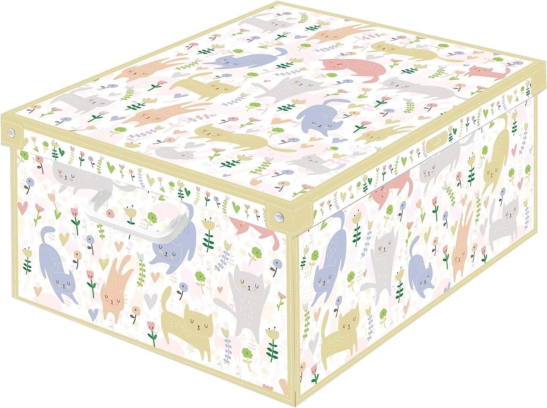 Caja de almacenamiento en cartòn Lavatelli, GATITOS, facil montaje, resistente, 39x50x24cm, Grande