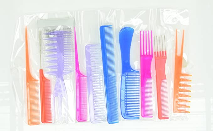 10pcs Professional Combs Hairdressing Hair Salon Styling Barbers Set Kit (Neon Assorted)