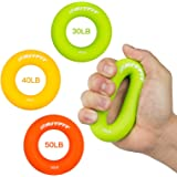 Hand Grip Strengthener Rings,A Forearm Wrist & Finger Exerciser,Life Time Warranty!for Rock Climbing, Athletes & Musicians Stress Relief & Rehabilitation,Set of 6 Resistance Levels