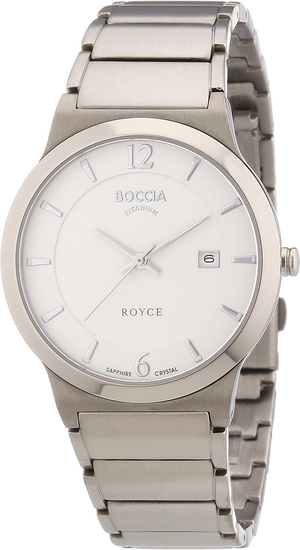 Boccia 3565-01 - Reloj analógico de Cuarzo para Hombre con Correa de Titanio, Color Plateado