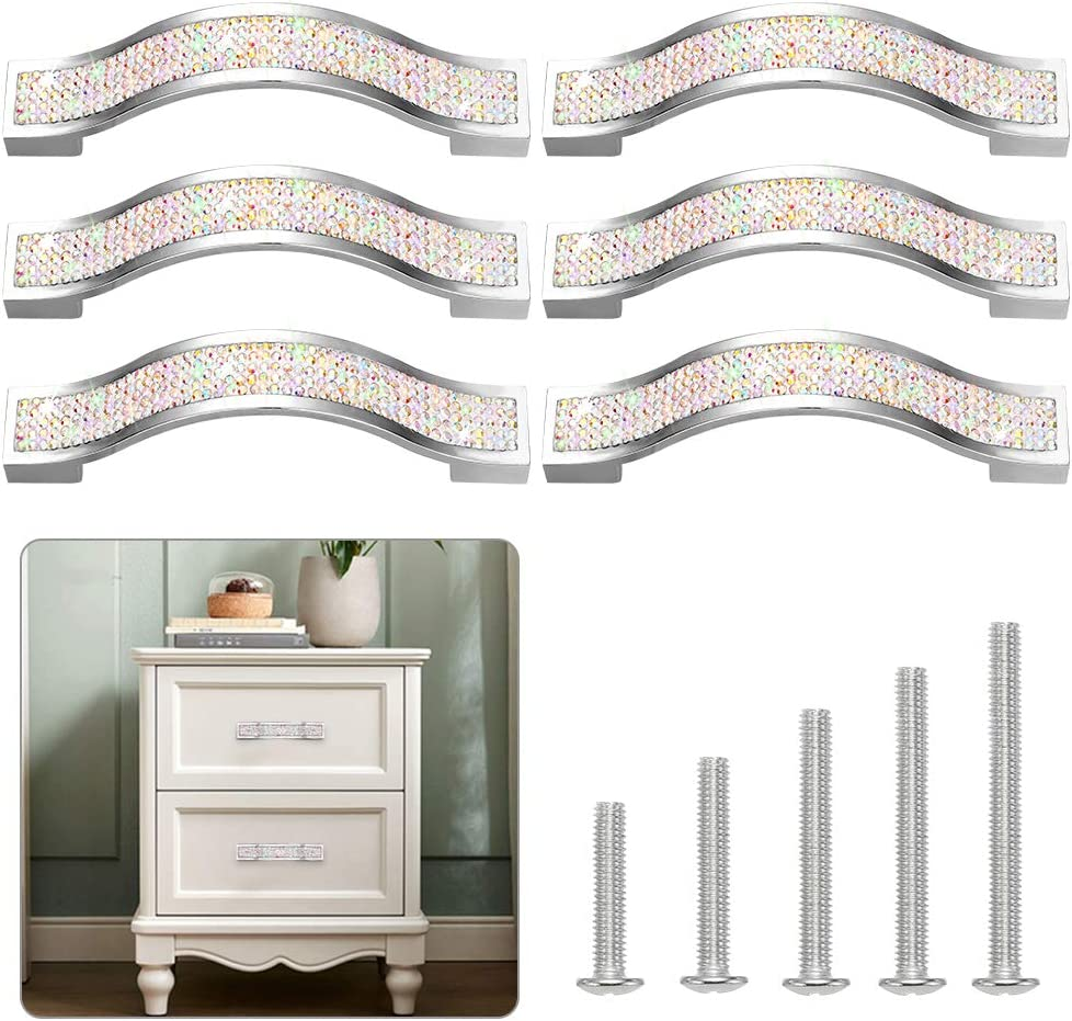 Artscope Crystal Cabinet Pull Handle, Bling Door Handle, Modern Cabinet Knobs, Diamond Pulls, Diamond Knob, Furniture Door Drawer, Fashion Kitchen Knob 6 Pack (11 cm/4.3 in, White)
