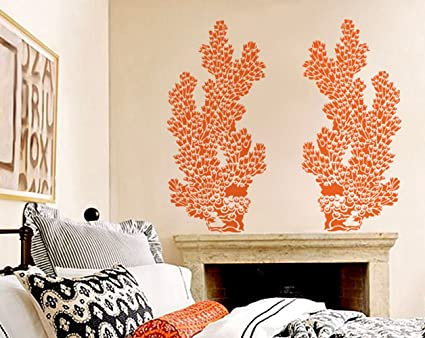 Coral Wall Stencil   Tube Coral Large   Reusable DIY Wall Art Decor   Paint  In