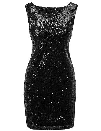 Regna X Women Sexy Deep V Neck Sequin Glitter Stretchy Mini Party Dress  Black S 0aa0534ca