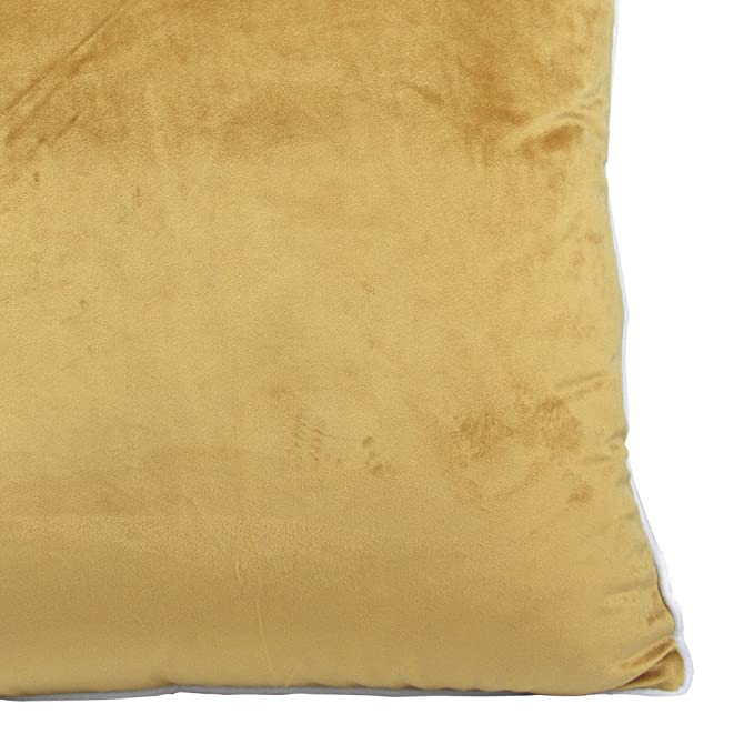 2 fundas de cojín de felpilla, de color sólido y ribetes blancos, de Comoco, amarillo mostaza, 50 x 50 cm: Amazon.es: Hogar