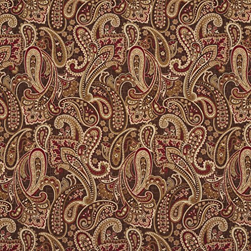 E710 Red, Gold and Brown Woven Paisley Upholstery Fabric by The Yard ()