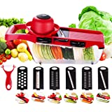 Vegetable Slicer Cutter Adjustable with 6 Interchangeable Blades Multi-functional Food Proceer + Peeler,Hand Protector Vegetable Grater for Potato,Tomato,Onion,Cucumber,Cheese Valentine's Present