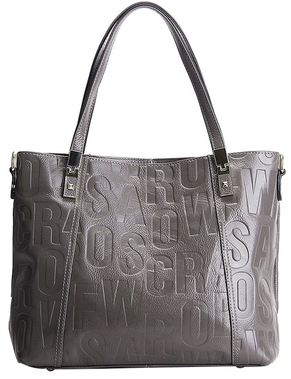 Menschwear Womens Genuine Leather Top Handle Satchel Bag Grey by Menschwear (Image #3)
