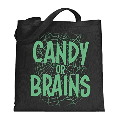Crazy Dog Candy or Brains Funny Spider Web Halloween Tote Bag