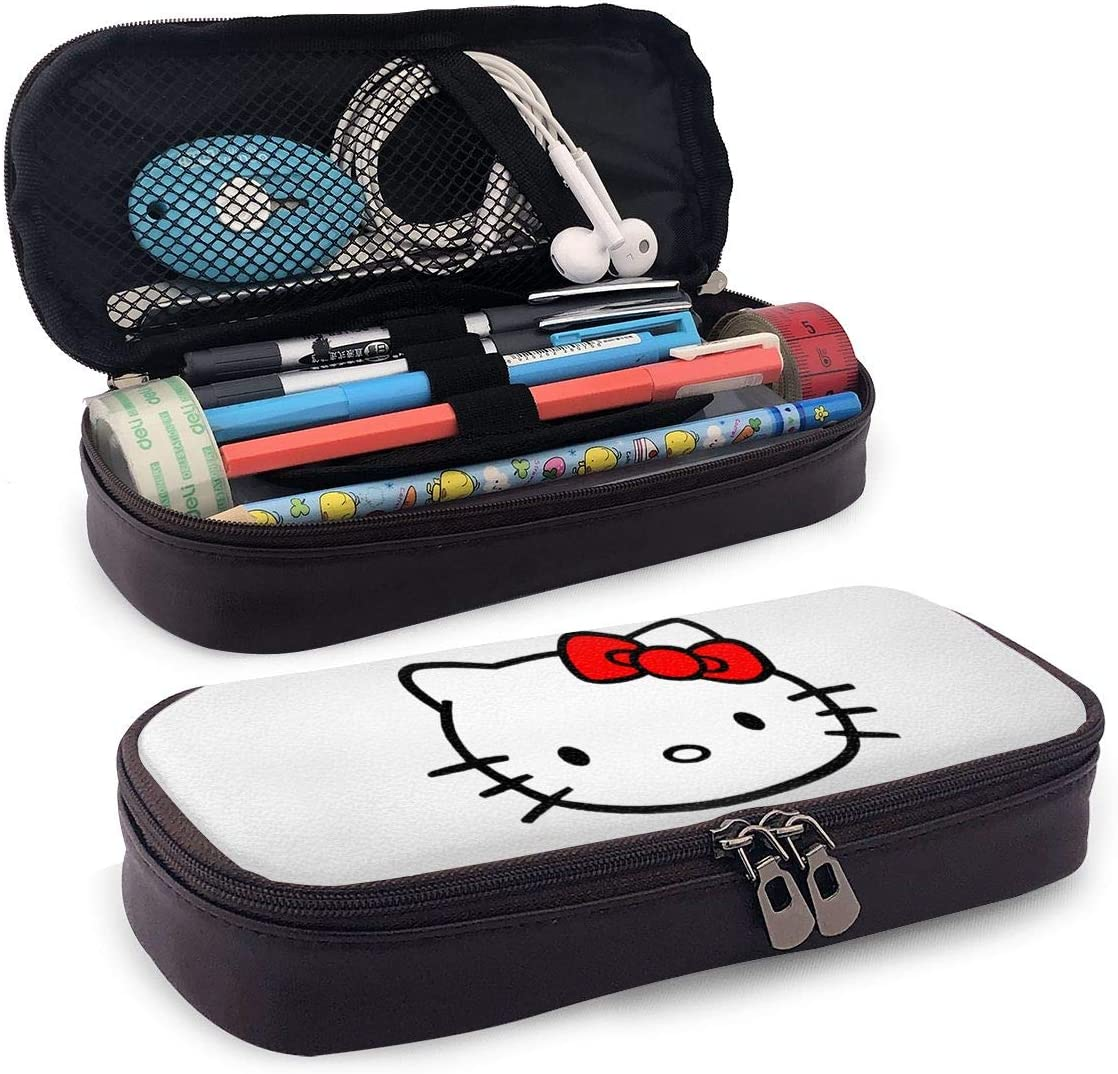 Hello Kitty Leather Pencil Bag-Boys Girls Pen Case Pencil Pouch with Zipper for School Office Gift