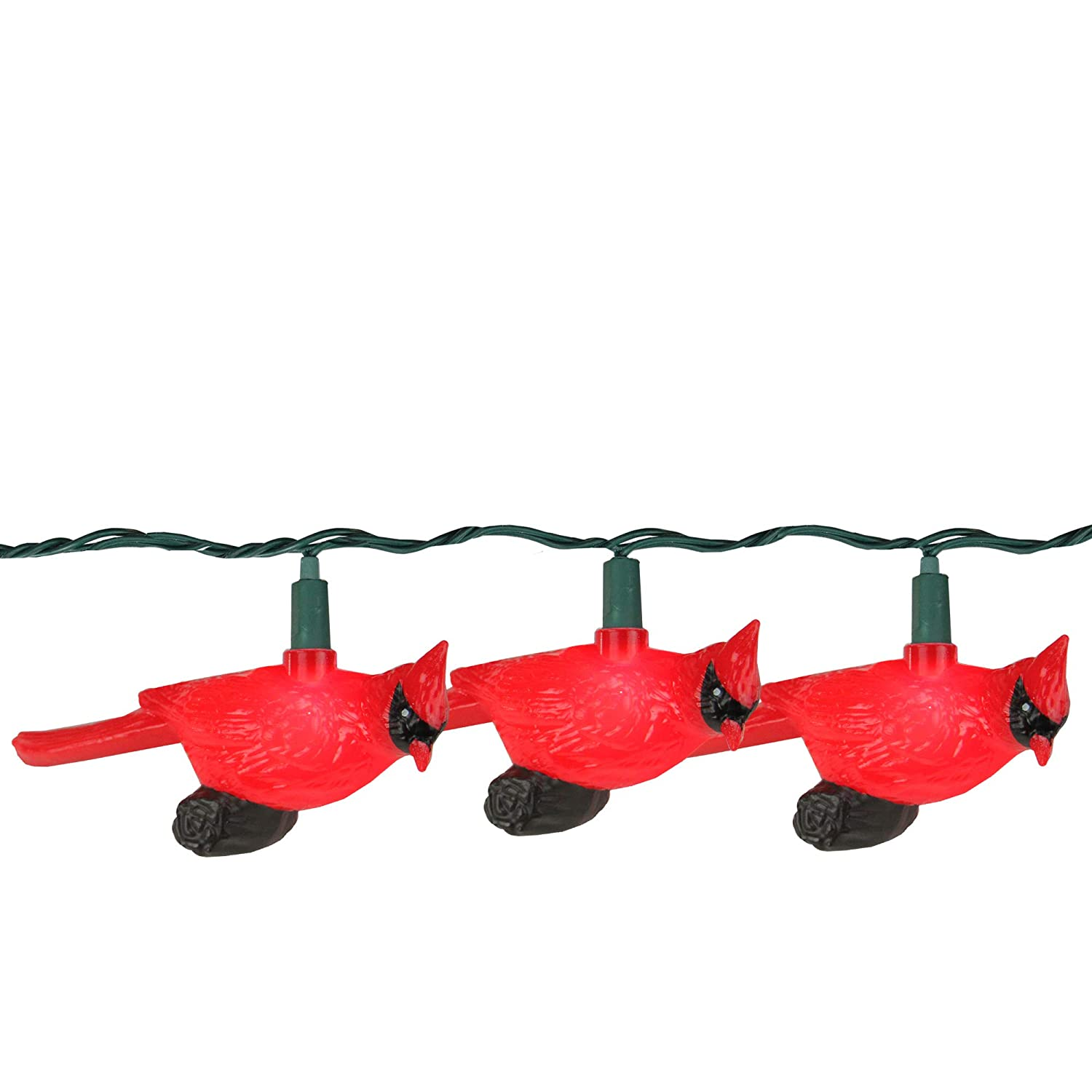 Set of 10 Festive Red Cardinal Bird Novelty Christmas Lights Green Wire