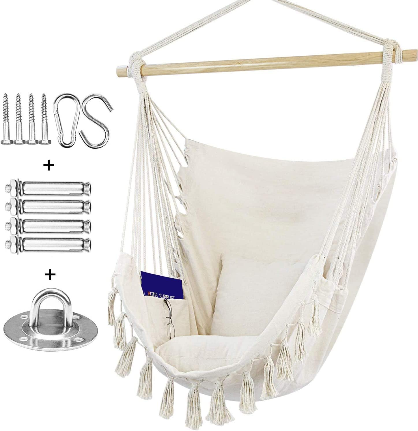 Rebel Life Hammock Hanging Rope Swing Indoor Macrame Chair with Max Capacity of 330LBS with 2 Cushions and Big Side Pocket for Comfort with Complete Hardware Set for Durability Beige