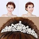 8cf05c7c22808 Demiawaking 上品で華やかウェディング 花嫁 髪飾り ティアラ+ピアス+ネックレス 3点セット