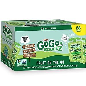 GoGo SqueeZ Applesauce, Apple Apple (3.2 Ounce, 28 Count)