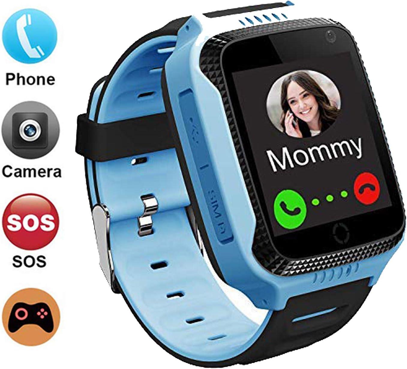 GPS localizador Reloj Inteligente para Niños Telefono, GPS Tracker Anti-pérdida para Smartwatch, Perímetro de Seguridad, Cámera, SOS, Linterna, Juegos Digitales, Niños Regalo de 3 a 13 Años(Azul)