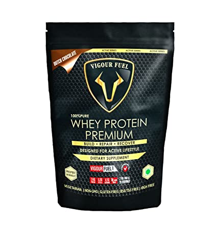 Vigour Fuel Whey Protein Premium Dutch Chocolate Powder with Digestive Enzyme (DigeZyme) & Probiotics (LactoSpore)- 908gm Whey Proteins at amazon
