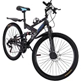 JUDI 26in Carbon Steel Mountain Bike Shimanos21 Speed Bicycle Full Suspension MTB