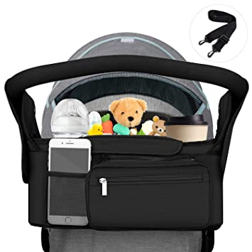 GREY Mountain Buggy Baby Jogger Stroller Cup Holder Organizer Wipes Diaper Phone