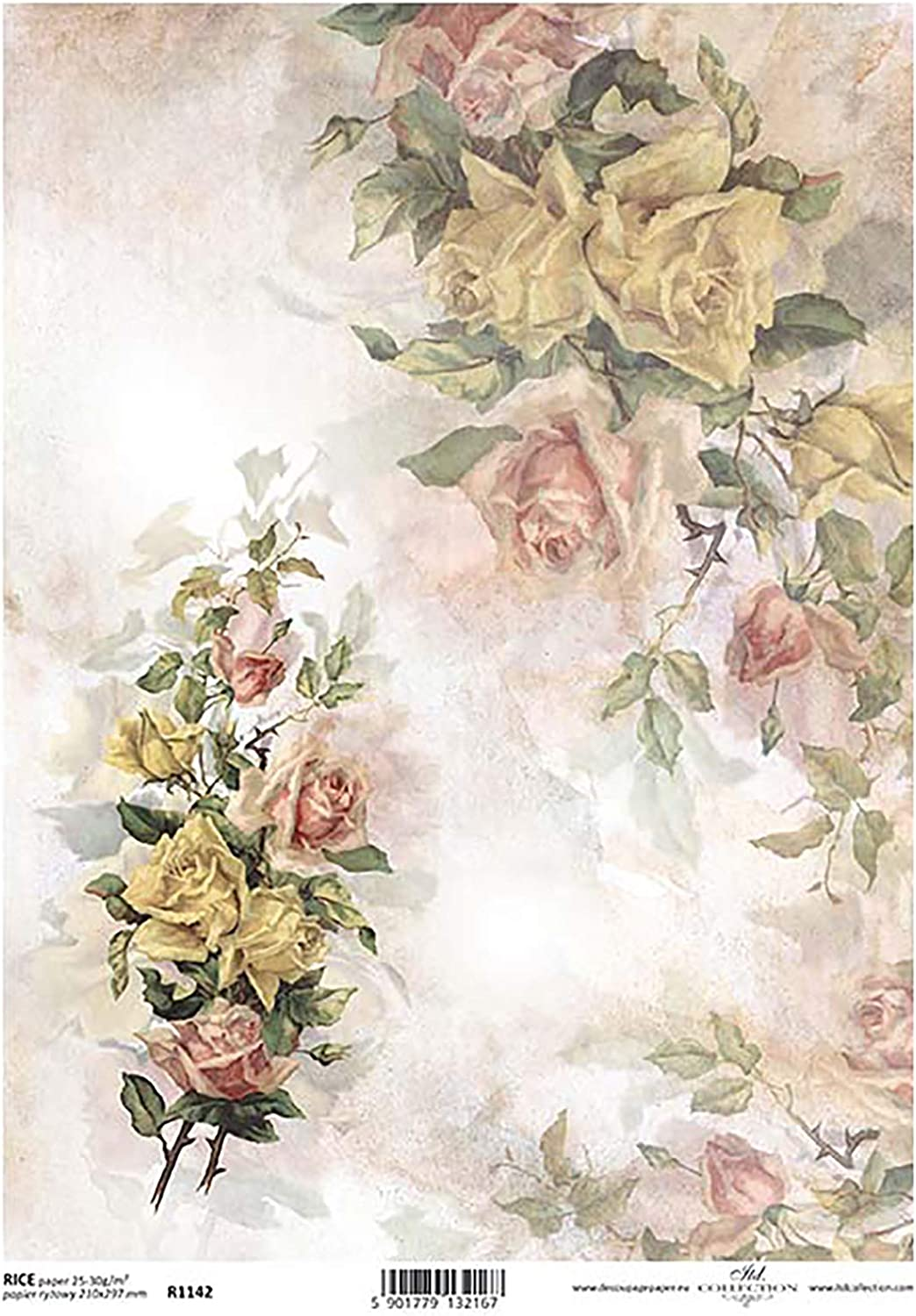 Yellow Pink Roses Flower Decoupage Rice Paper R1142-1 x A4 Sheet of decoupage Rice Paper