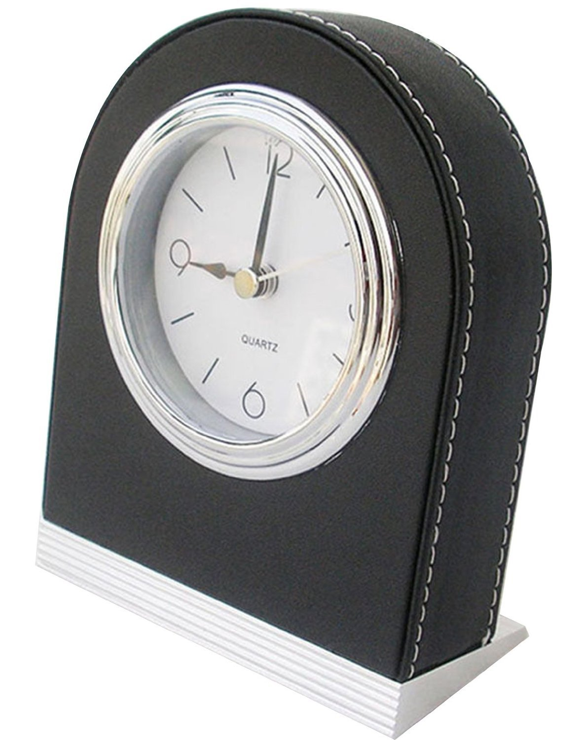 KINGFOM Durable Leatherette Snooze Alarm Clork White Dial with Nightlight for Home Hotel